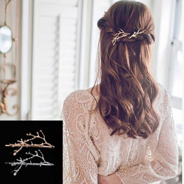 e3d465350f2 B-TOP Spona do vlasů ve tvaru VĚTVIČKY - zlatá
