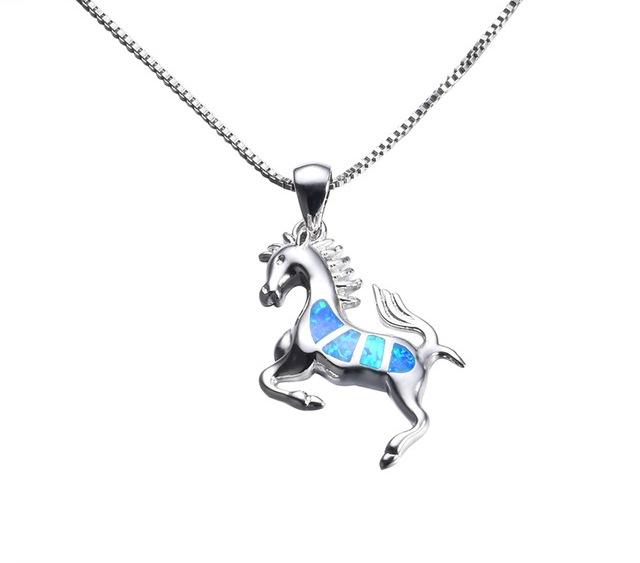 B-TOP Dámský náhrdelník KŮŇ s modrým OPÁLEM - postříbřený