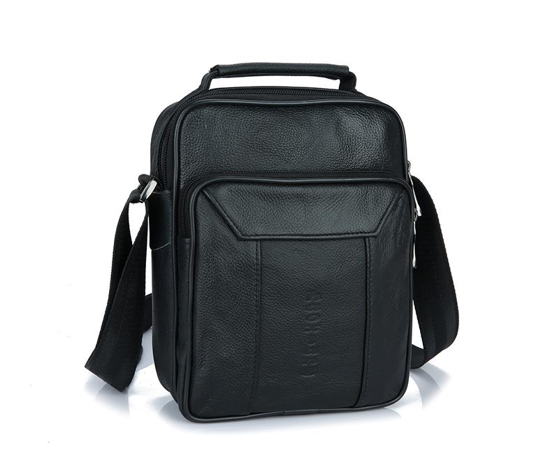B-TOP Pánská crossbody taška přes rameno z PRAVÉ KŮŽE - černá