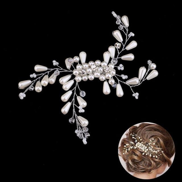 40930d8e3b8 B-TOP Luxusní svatební spona S PERLAMI A KAMÍNKY - bílá stříbrná