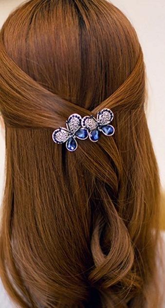 B-TOP Spona do vlasů ve tvaru MOTÝLI - modrá stříbná 6e287489d8
