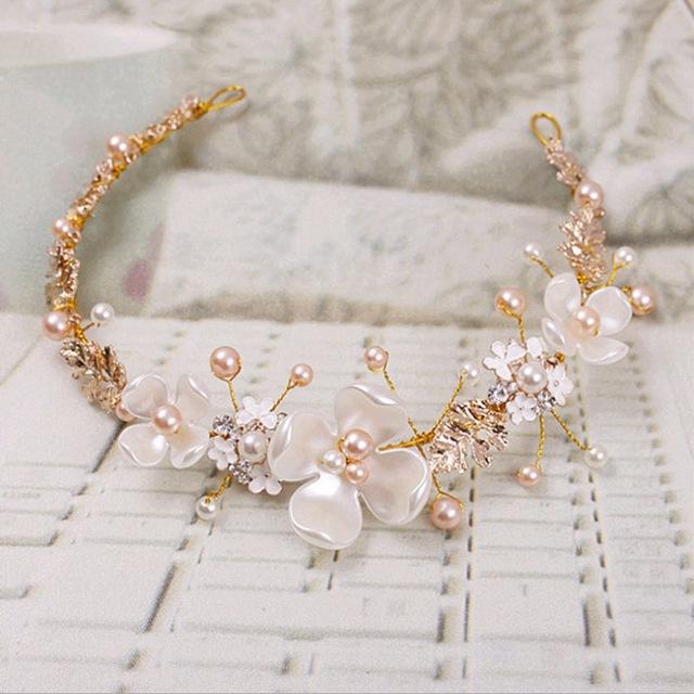 90bdbdc4820 B-TOP Svatební ozdoba do vlasů KVĚTY S PERLAMI - bílá zlatá růžová