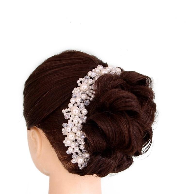 a46672a9ebd B-TOP Luxusní ozdoba do vlasů S PERLAMI A KAMÍNKY - stříbrná smetanová