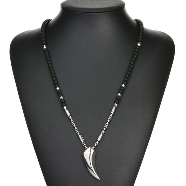 B-TOP Pánský módní náhrdelník VIKING - černý/stříbrný