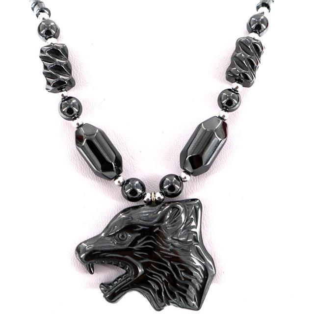 B-TOP Pánský módní náhrdelník VLČÍ HLAVA - černá fde99a69e32