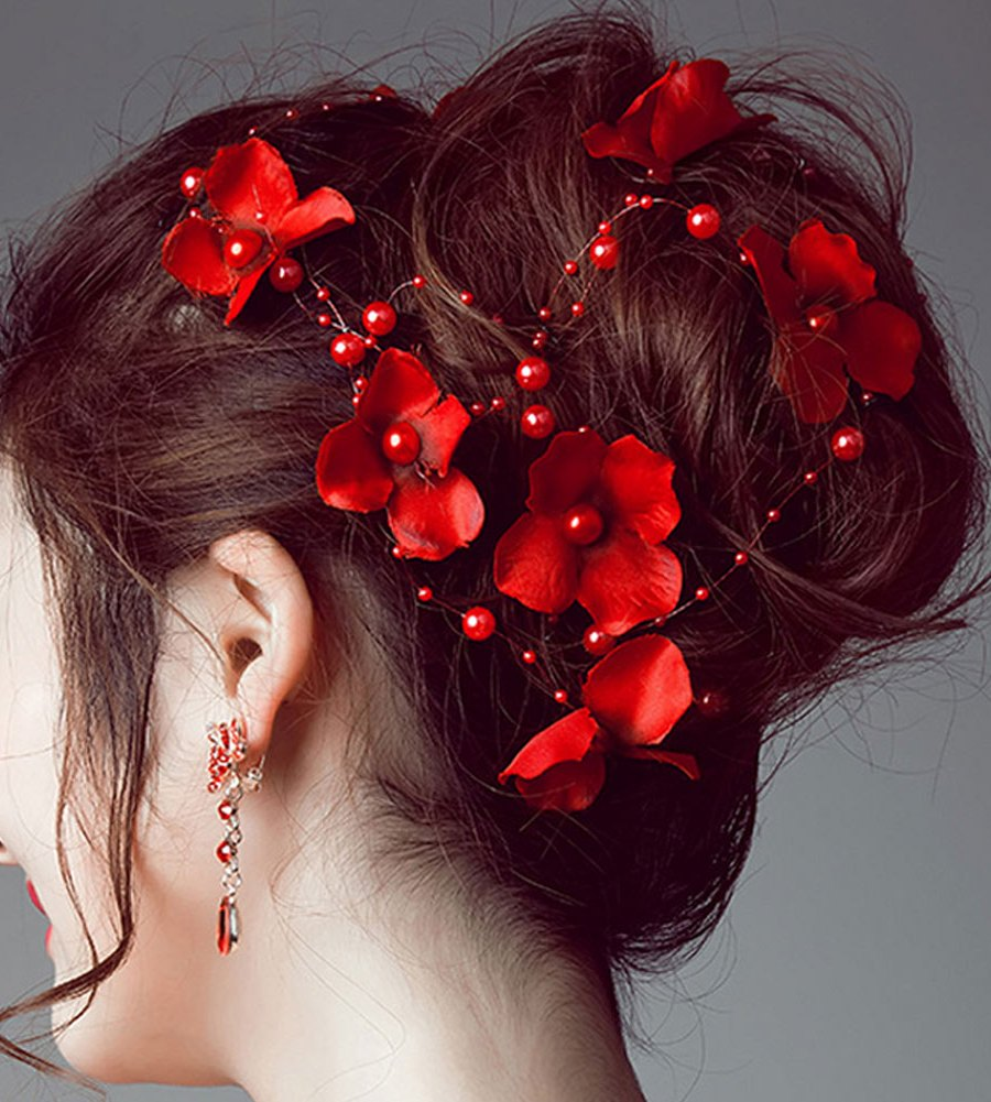 B-TOP Svatební ozdoba do vlasů KVĚTY S PERLAMI - červená 871659dbda