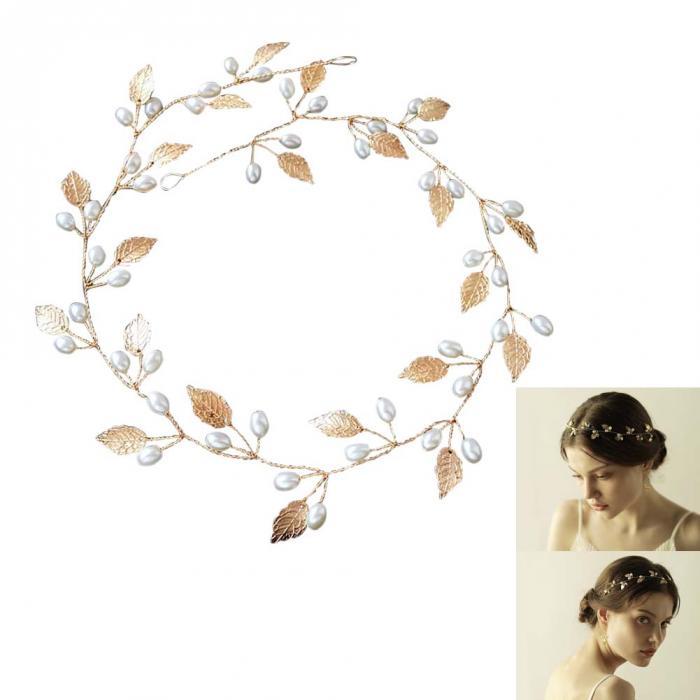 20873121eb6 B-TOP Svatební ozdoba do vlasů S PERLAMI - bílá zlatá