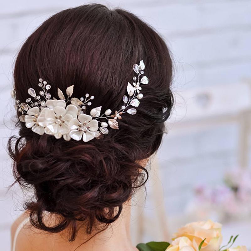 B-TOP Luxusní svatební ozdoba do vlasů KVĚTY - zlatá bílá b84b595412