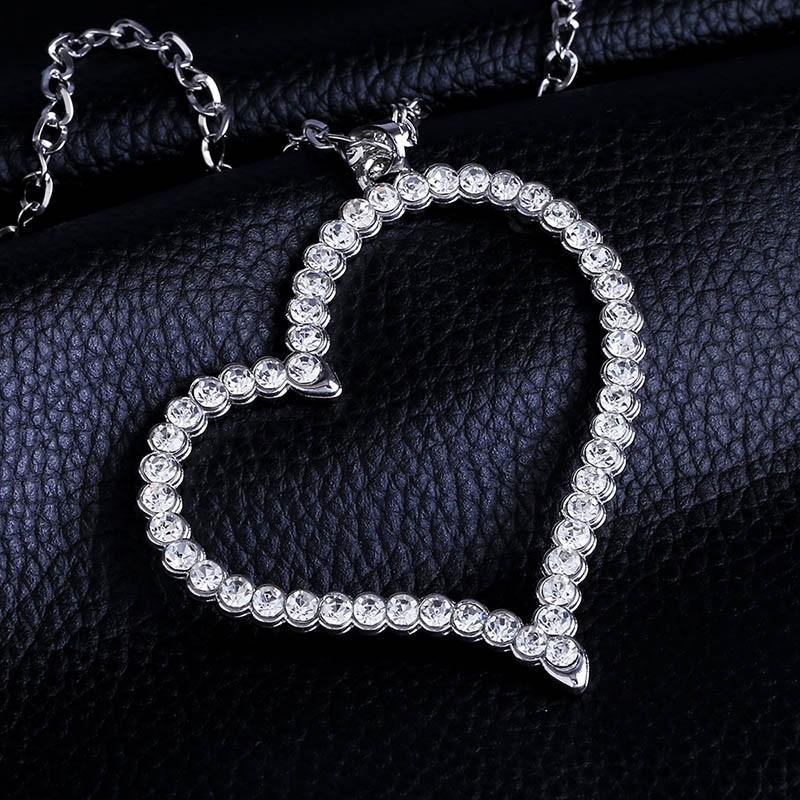 B-TOP Dámský náhrdelník VELKÉ SRDCE - bílé pozlacení