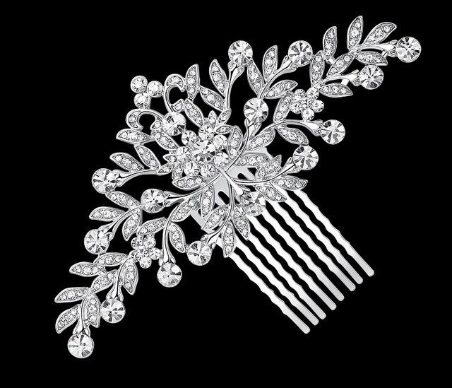 72b71d2a8bf B-TOP Svatební hřeben do vlasů LEAF CRYSTAL - bílé pozlacení