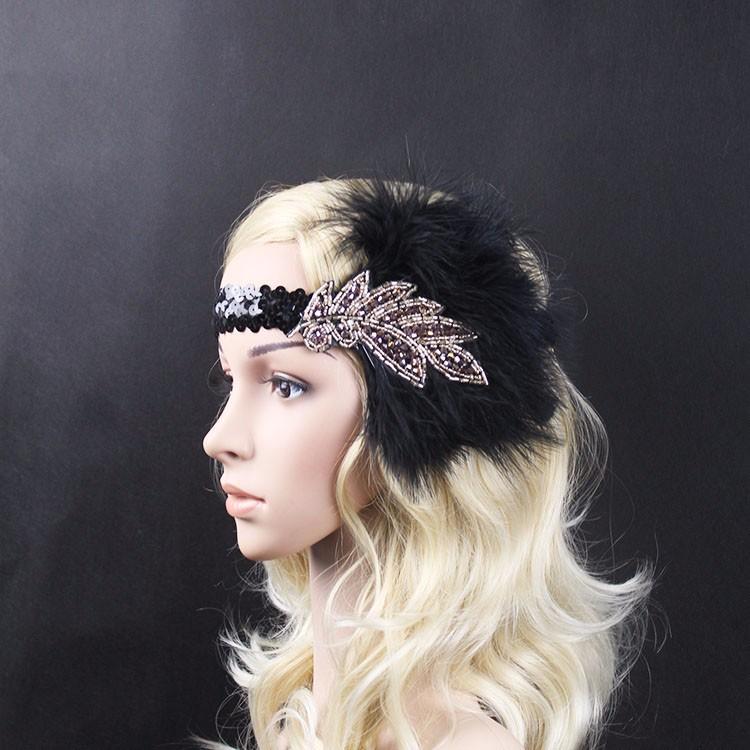 B-TOP Luxusní čelenka do vlasů s kamínky a peřím ve VINTAGE stylu - černá/stříbrná