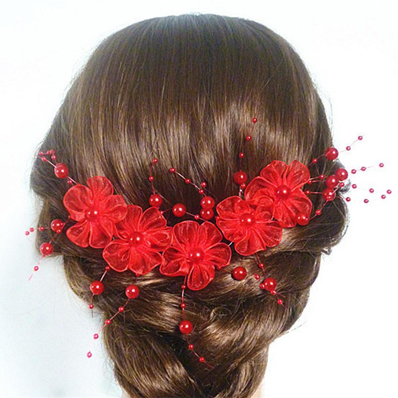 e267b16995e B-TOP Ozdoba do vlasů KVĚT S PERLAMI - červená