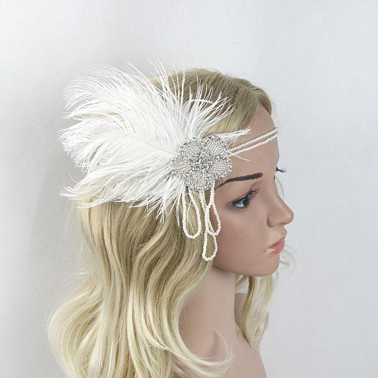 B-TOP Luxusní čelenka do vlasů s kamínky a peřím ve VINTAGE stylu - bílá/stříbrná