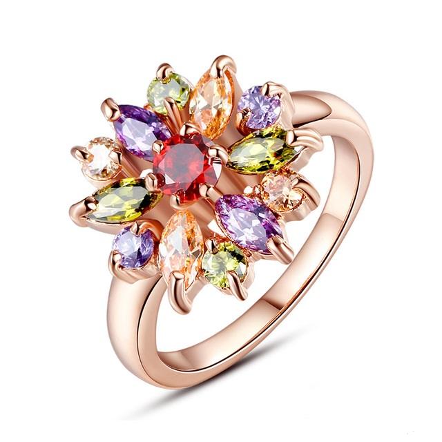 B-TOP Dámský prsten ZIRCON COLOR FLOWER - růžové pozlacení Velikost prstenu: 57mm