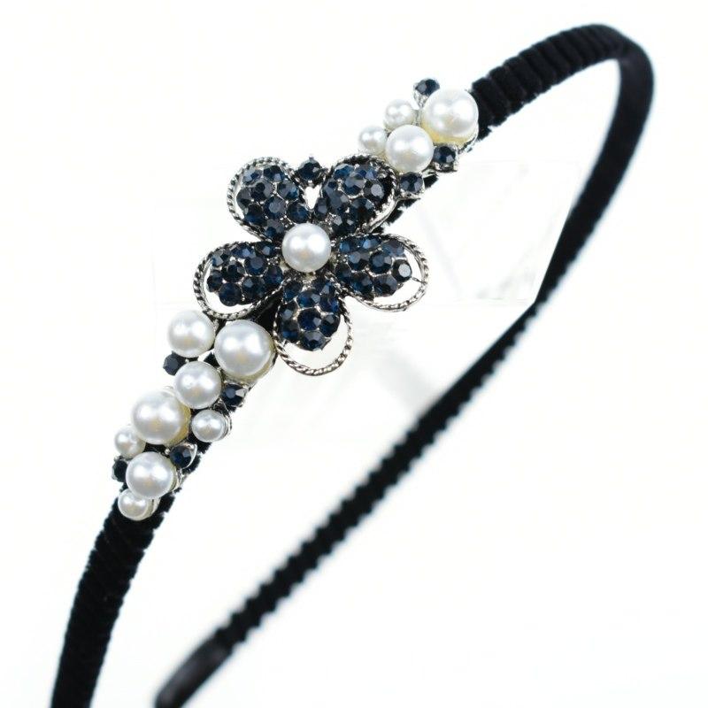 B-TOP Čelenka do vlasů s kamínky a perlami KVĚT b8060f012b