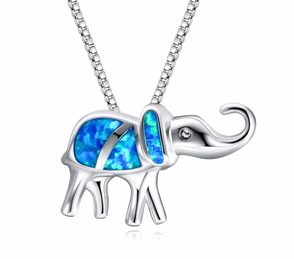 B-TOP Dámský náhrdelník SLON s modrým OPÁLEM - postříbřený