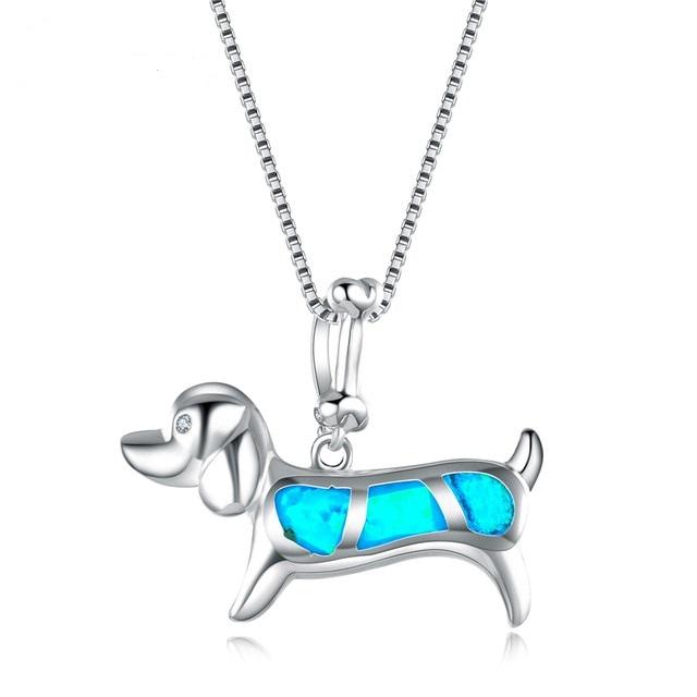 B-TOP Dámský náhrdelník PES s modrým OPÁLEM - postříbřený