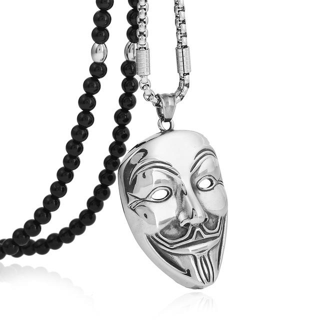 """B-TOP Pánský módní náhrdelník """"MASKA"""" - černý/stříbrný"""
