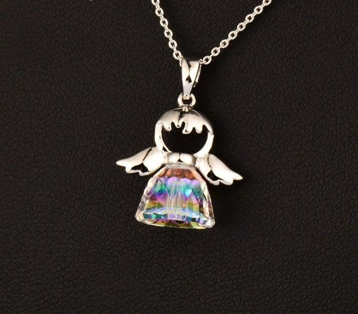 B-TOP Luxusní náhrdelník s přívěskem ANGEL - bílé pozlacení 7c95920453b