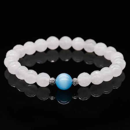 B-TOP Náramek z přírodních kamenných korálků - bílý/modrý