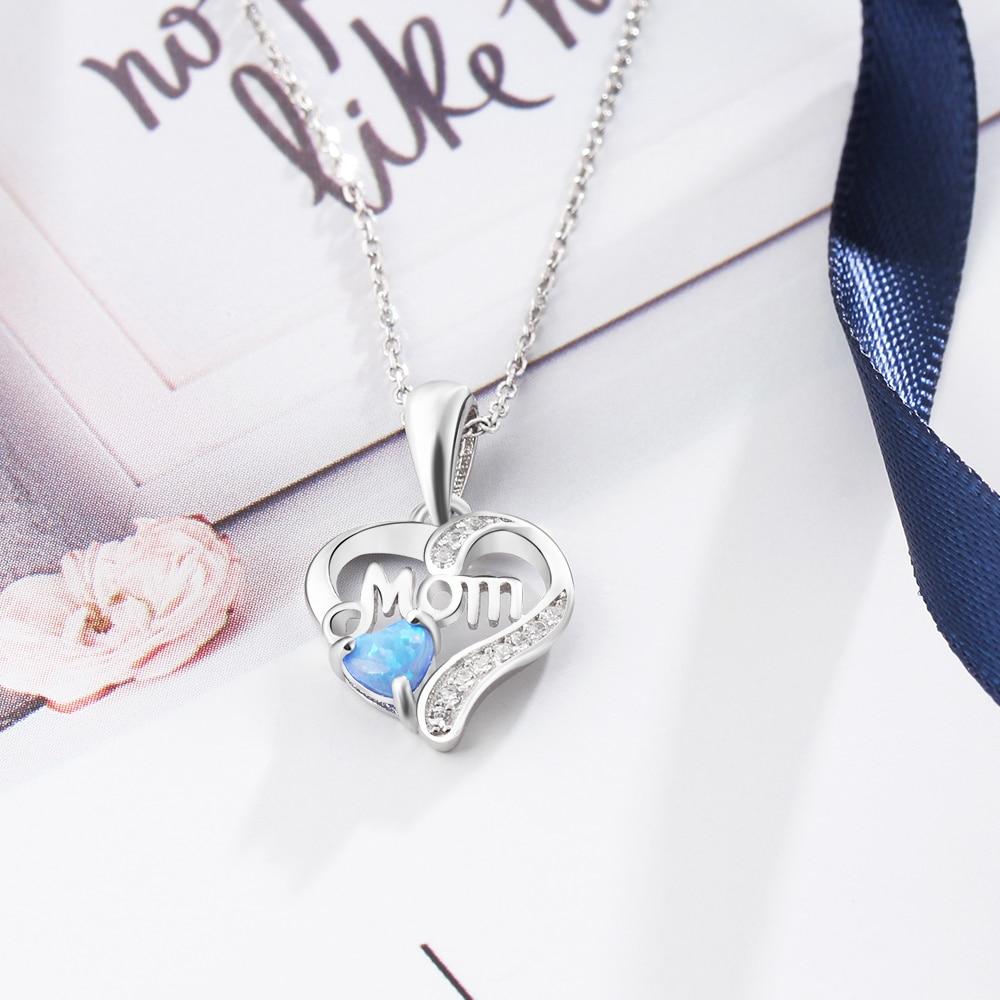 B-TOP Dámský náhrdelník MOM s modrým OPÁLEM - postříbřený