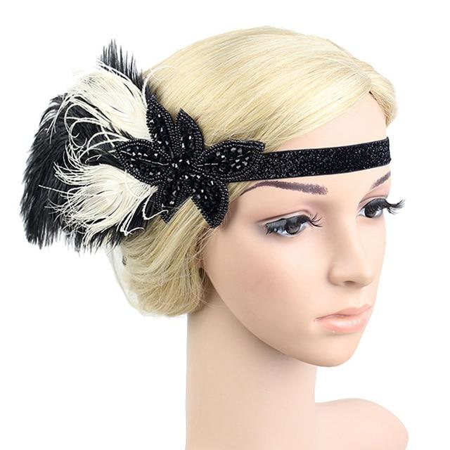 B-TOP Luxusní čelenka do vlasů s kamínky a peřím ve VINTAGE stylu - černá/bílá