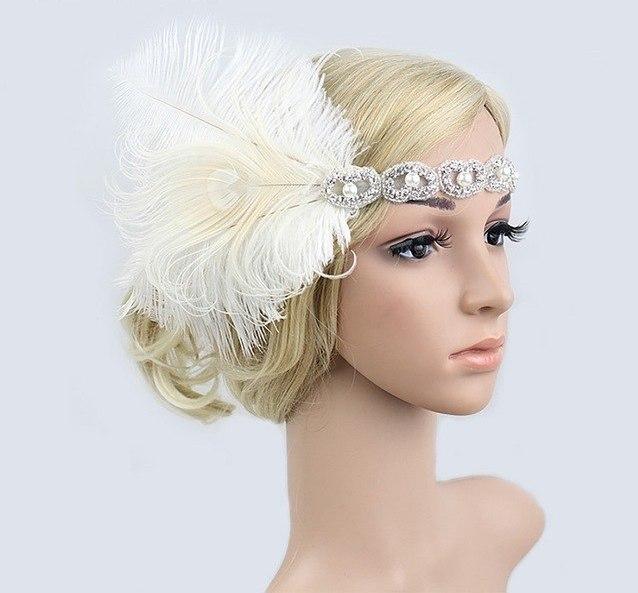 B-TOP Luxusní čelenka do vlasů s kamínky a peřím ve VINTAGE stylu - stříbrná/bílá