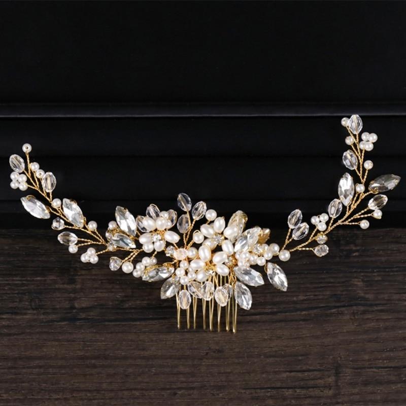 9241002b50c B-TOP Svatební hřeben do vlasů KVĚT Z KAMÍNKŮ A PEREL - zlatá
