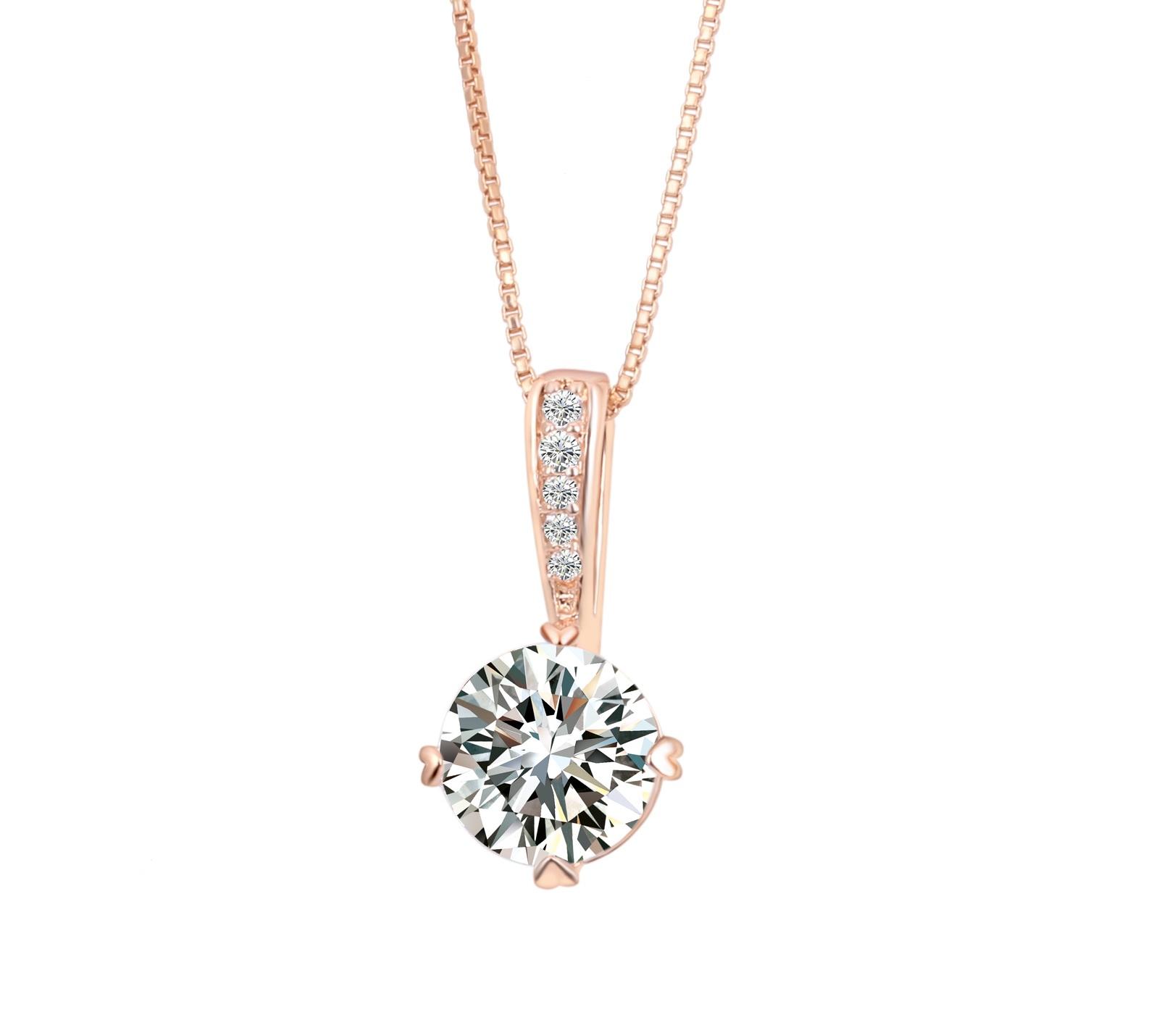 B-TOP Dámský náhrdelník s CZ DIAMOND KRYSTALEM - pozlacený