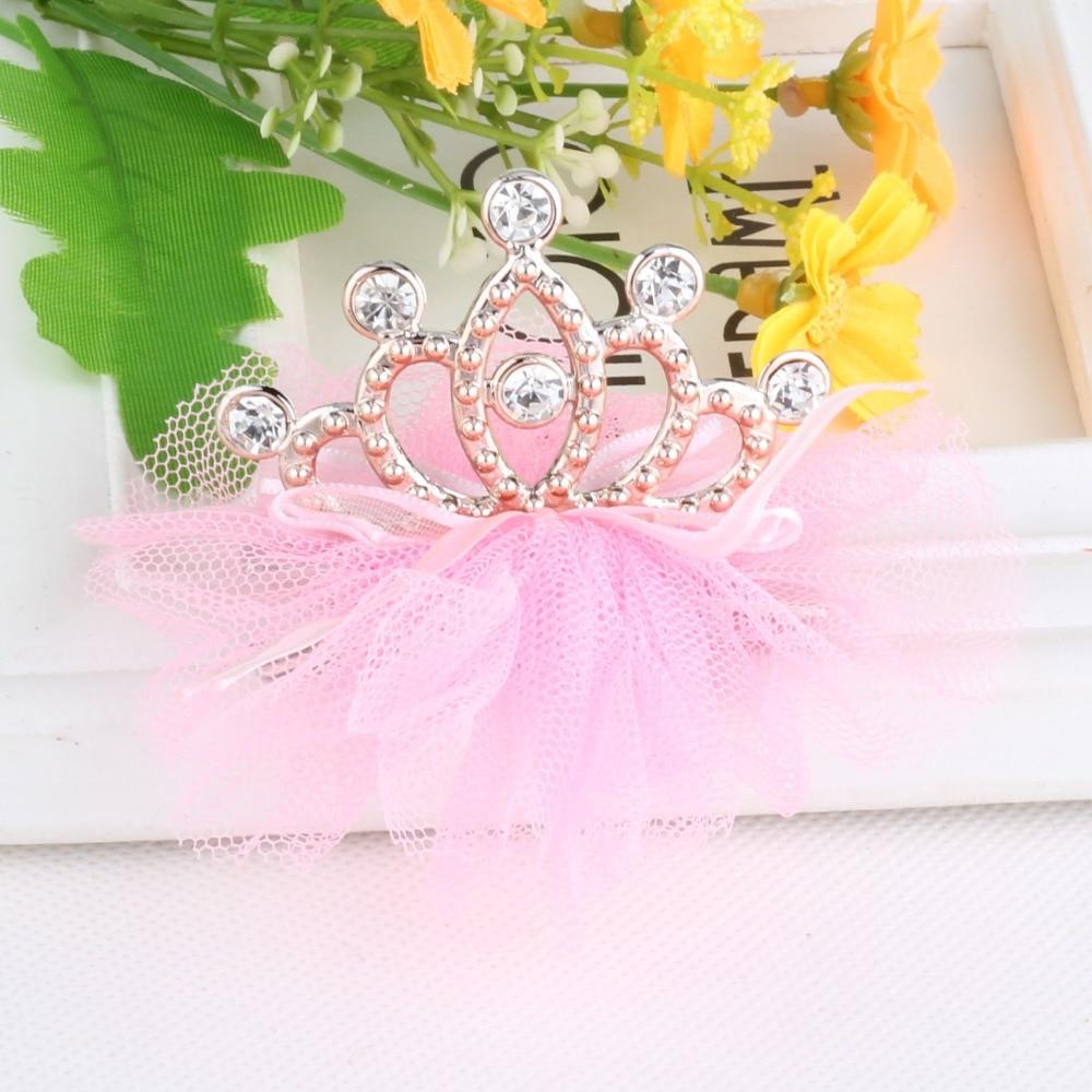 B-TOP Dívčí spona do vlasů s kamínky ve tvaru KORUNKY 2 - růžová