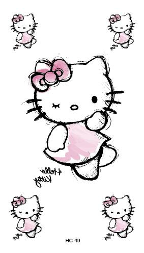 B-TOP Voděodolné dočasné tetování motiv HELLO KITTY - bílá/růžová