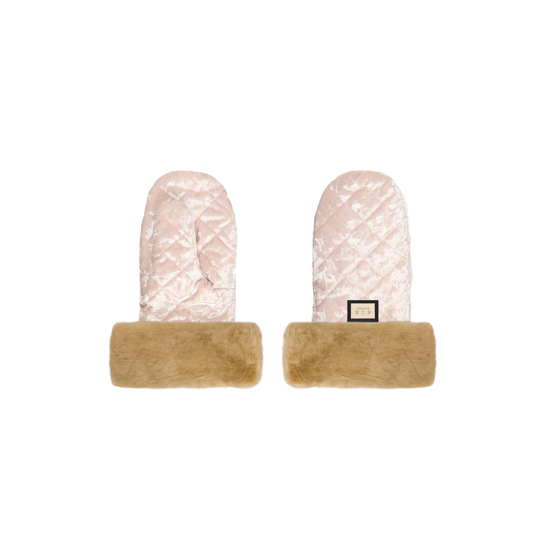 Rukavice Velvet Pink / Beige fur