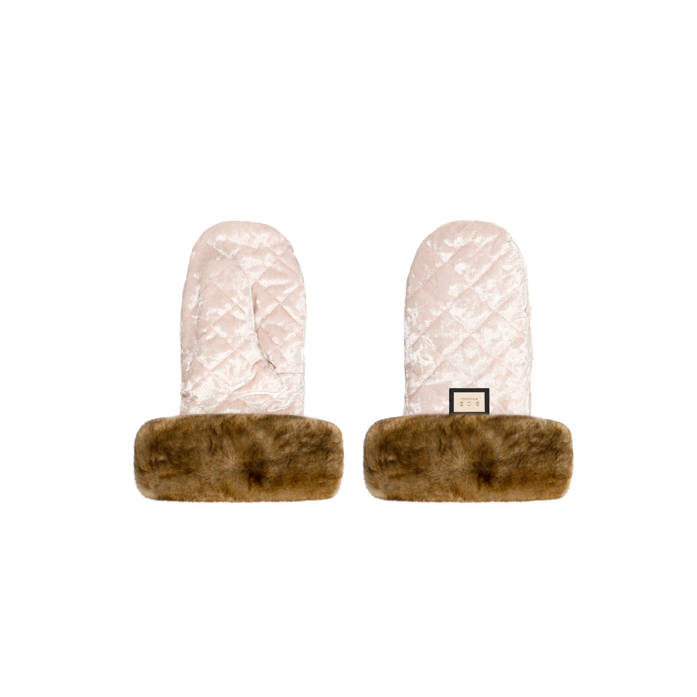 Rukavice Velvet Pink / Natural fur