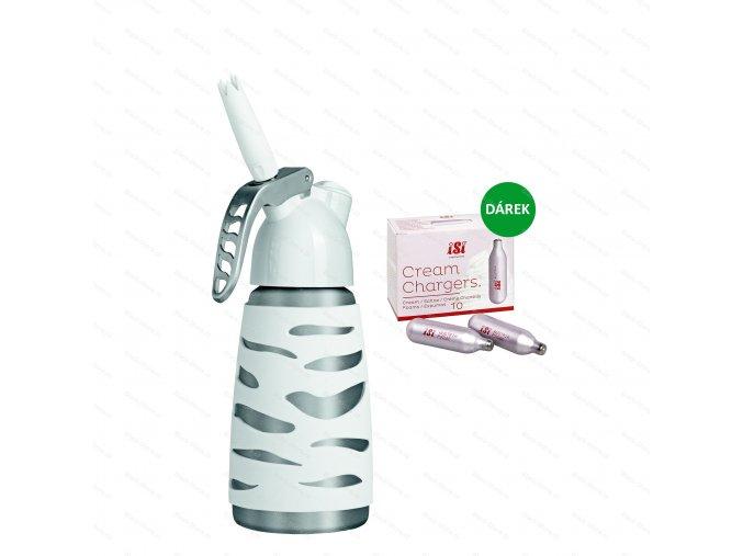 Šlehačková láhev DESSERT WHIP PLUS 0.25 l, bílá  + 10 ks bombiček