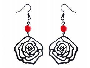 Black Cat Diamond - náušnice růže s korálem