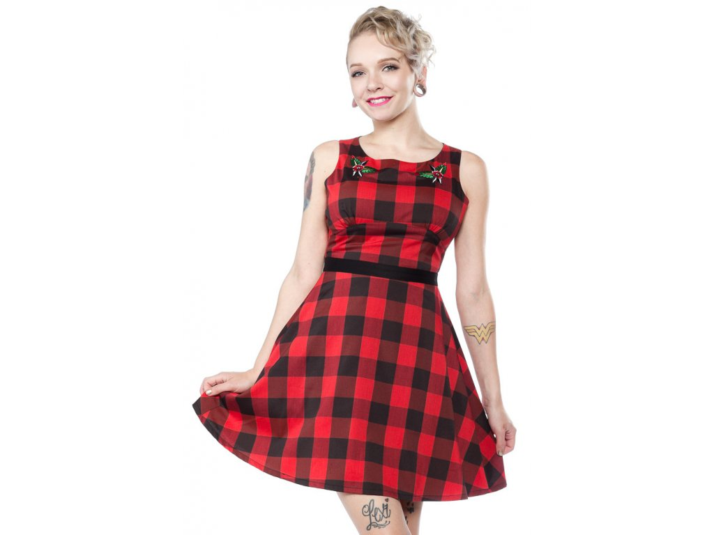 sp flower buffalo plaid dress 1