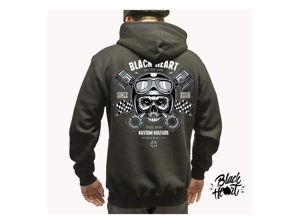 Pánská Mikina BLACK HEART PISTON SKULL ZIP - BLACK HEART BLACK HEART ... 32c0975663d