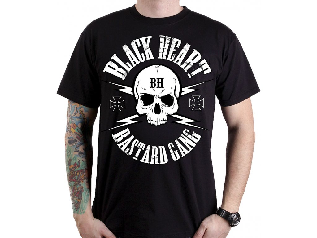 Pánské Triko BLACK HEART BASTARD GANG SKULL