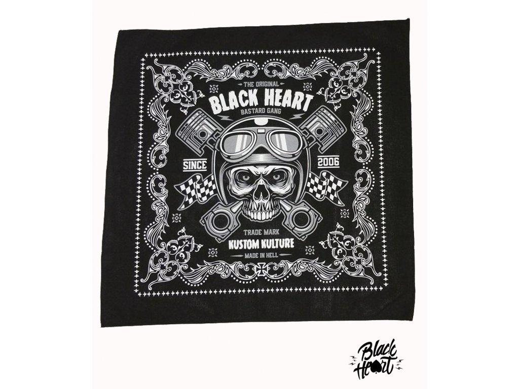 Šátek BLACK HEART PISTON SKULL