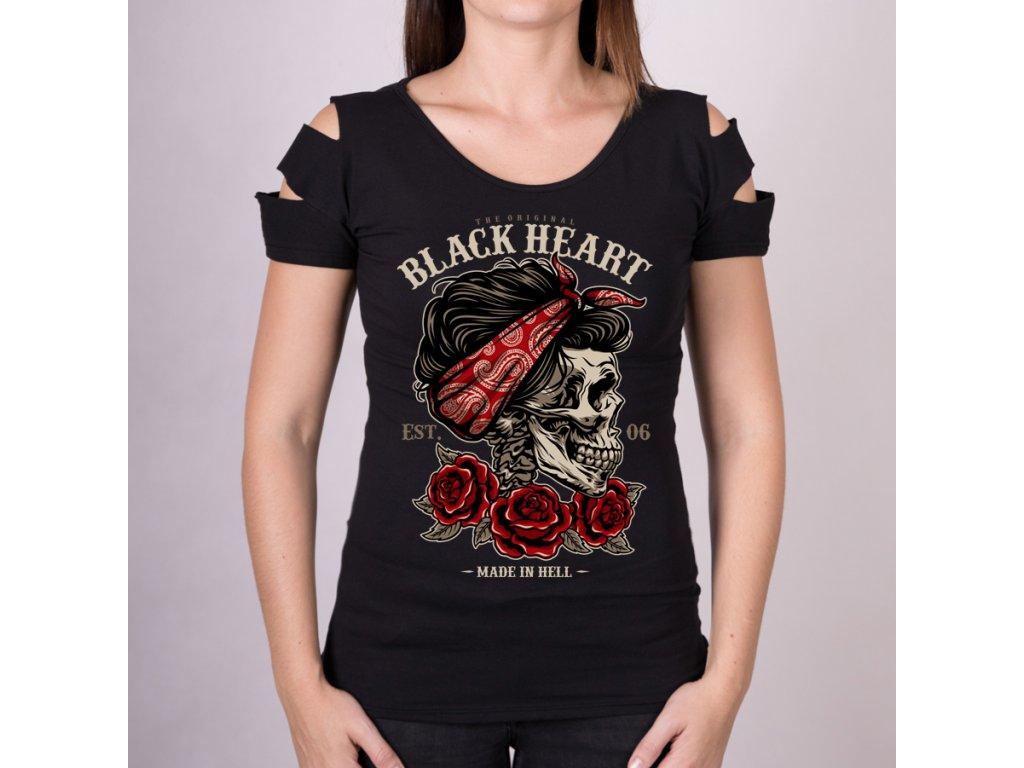 Triko DESTROY PIN UP SKULL BLACK HEART14