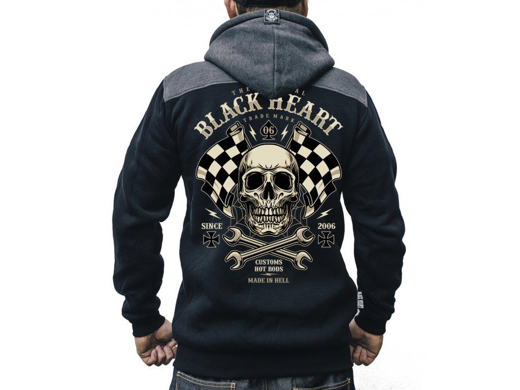 MOTORKÁŘSKÁ pánská mikina black heart STARTERjpg