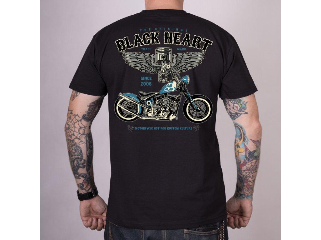 MOTORKÁŘSKÉ Triko BLACK HEART BLUE CHOPPER2
