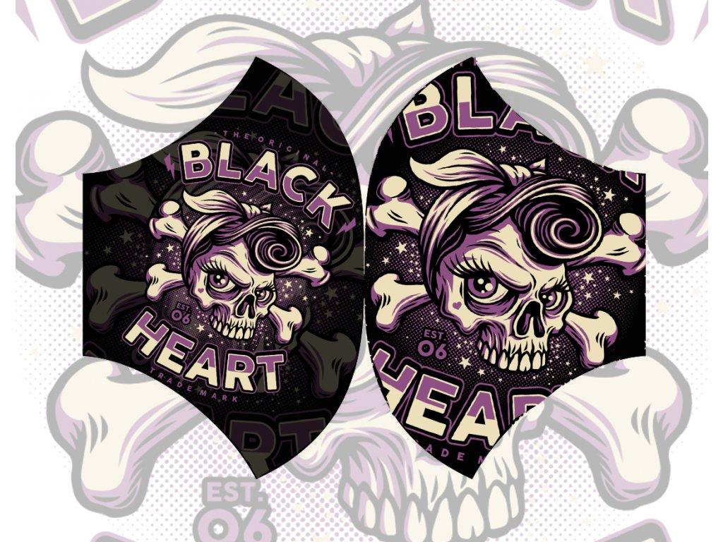 ROUŠKA BLACK HEART PIN UP SKULL