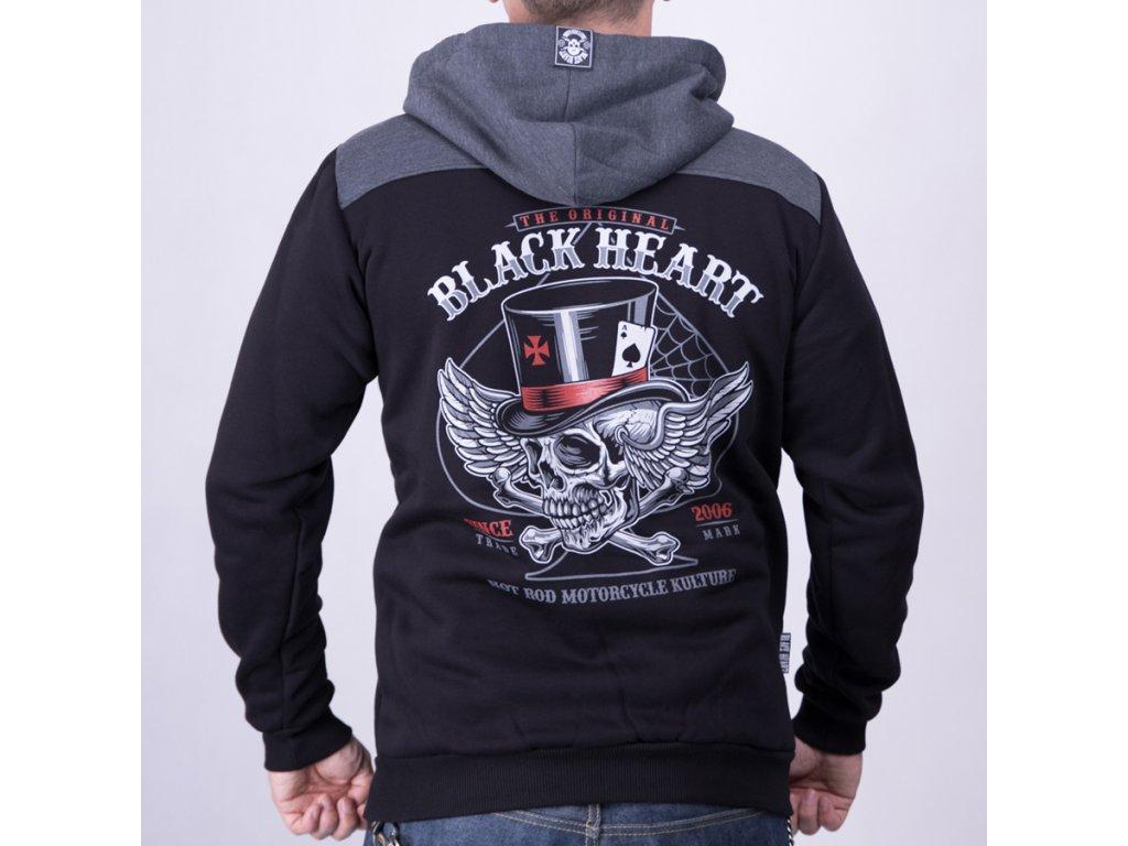 Mikina BLACK HEART HAT SKULL2+