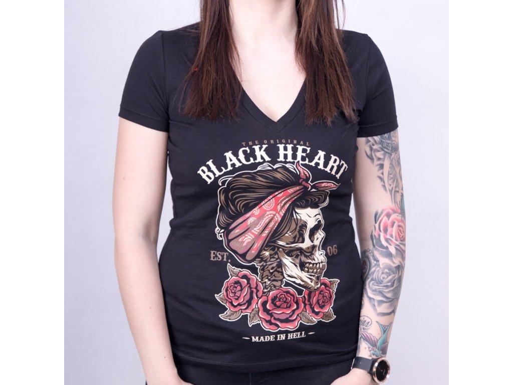 triko BLACK HEART PIN UPSKULL2