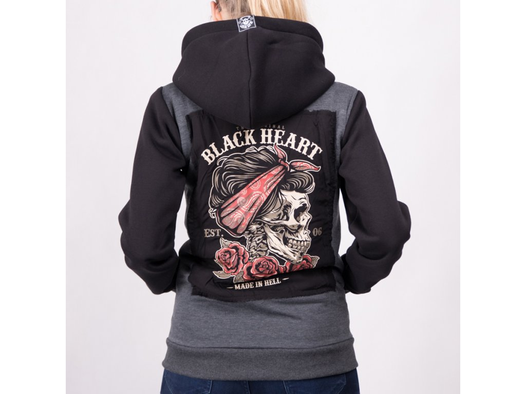Mikina BLACK HEART PIN UP SKULL 1+