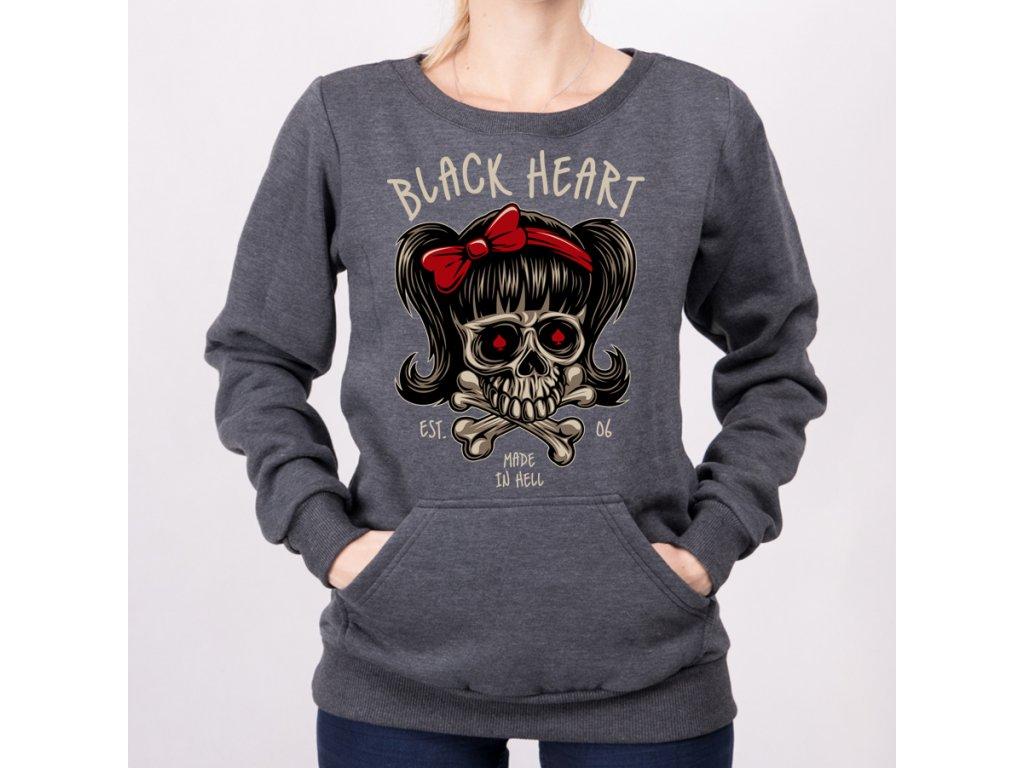 Mikina black heart sandy