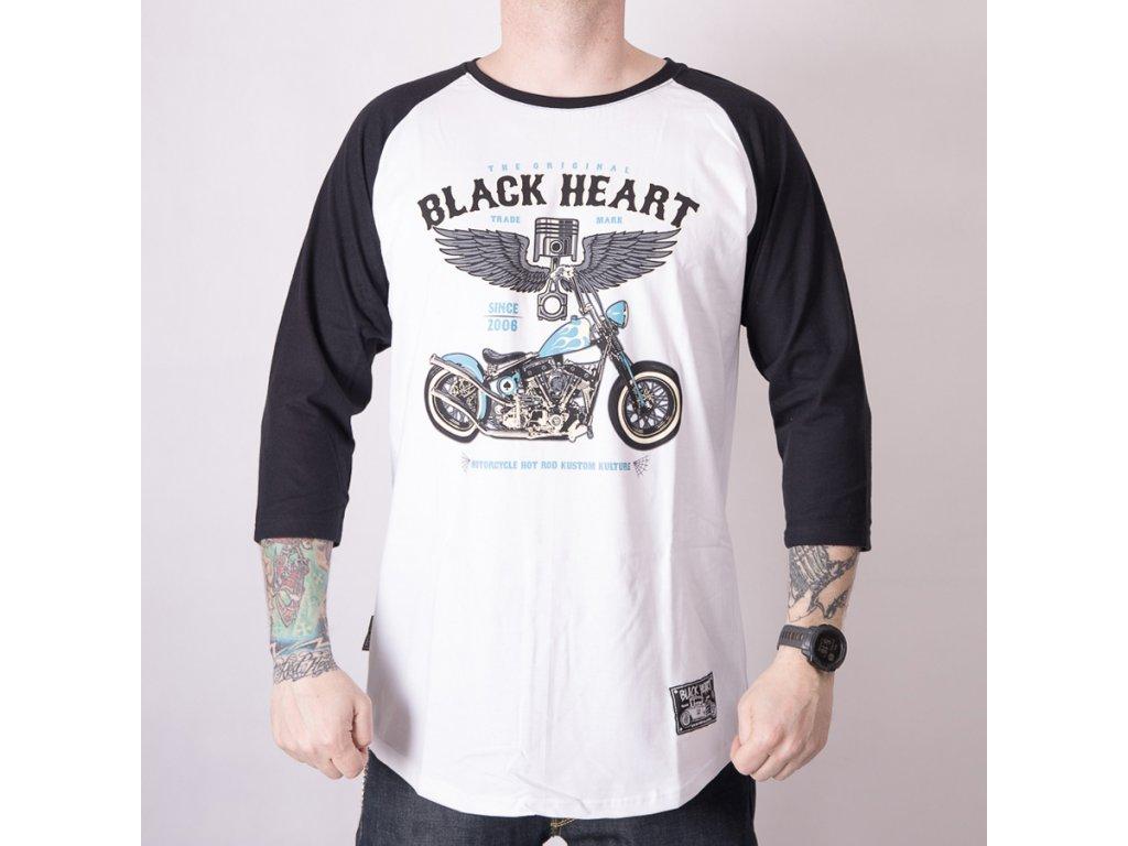 Triko black heart blue chopper