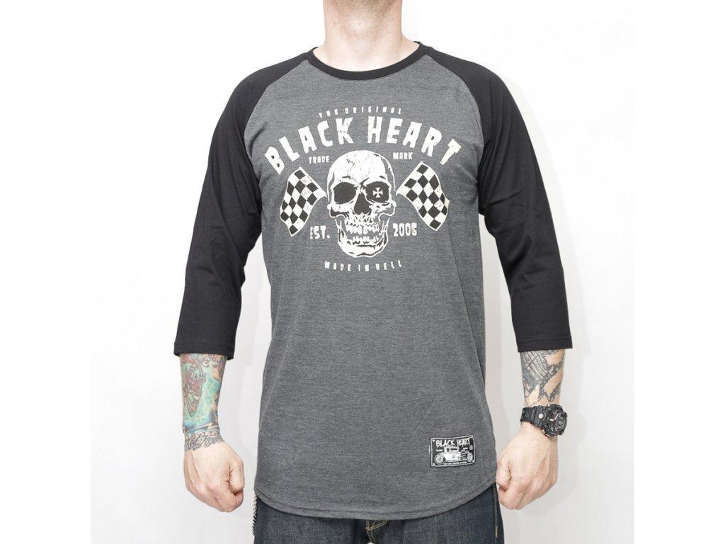 Triko black heart flag skull