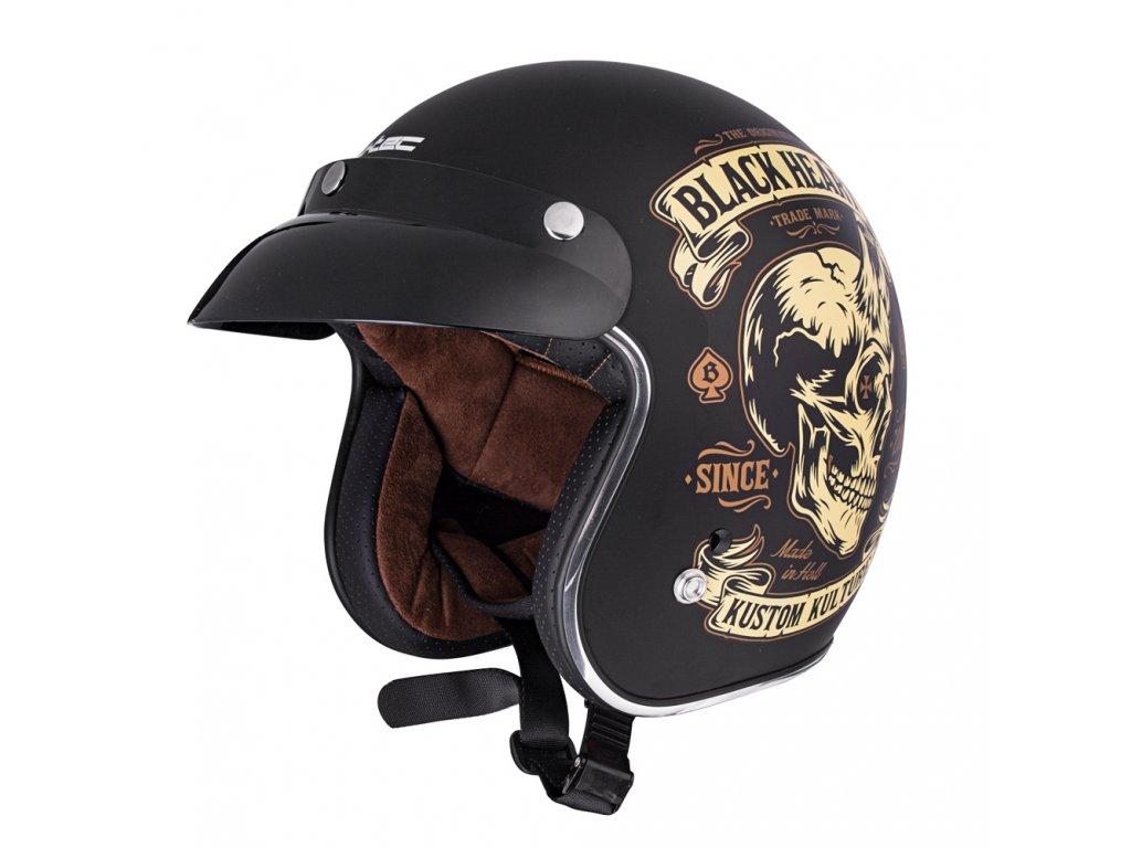 Moto přilba W-TEC V541 BLACK HEART DEVIL SKULL